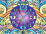 Blossom Clock has been captured in a time lap and made to show only spring time forever. That is why the flower buds around it are always fresh and rich with color. The Clock's ticking hands make three flowers whirl around and look just like butterflies!