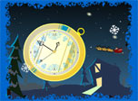 Santa is flying in his sledge and brings you christmas moods with 7art Santa Clock.