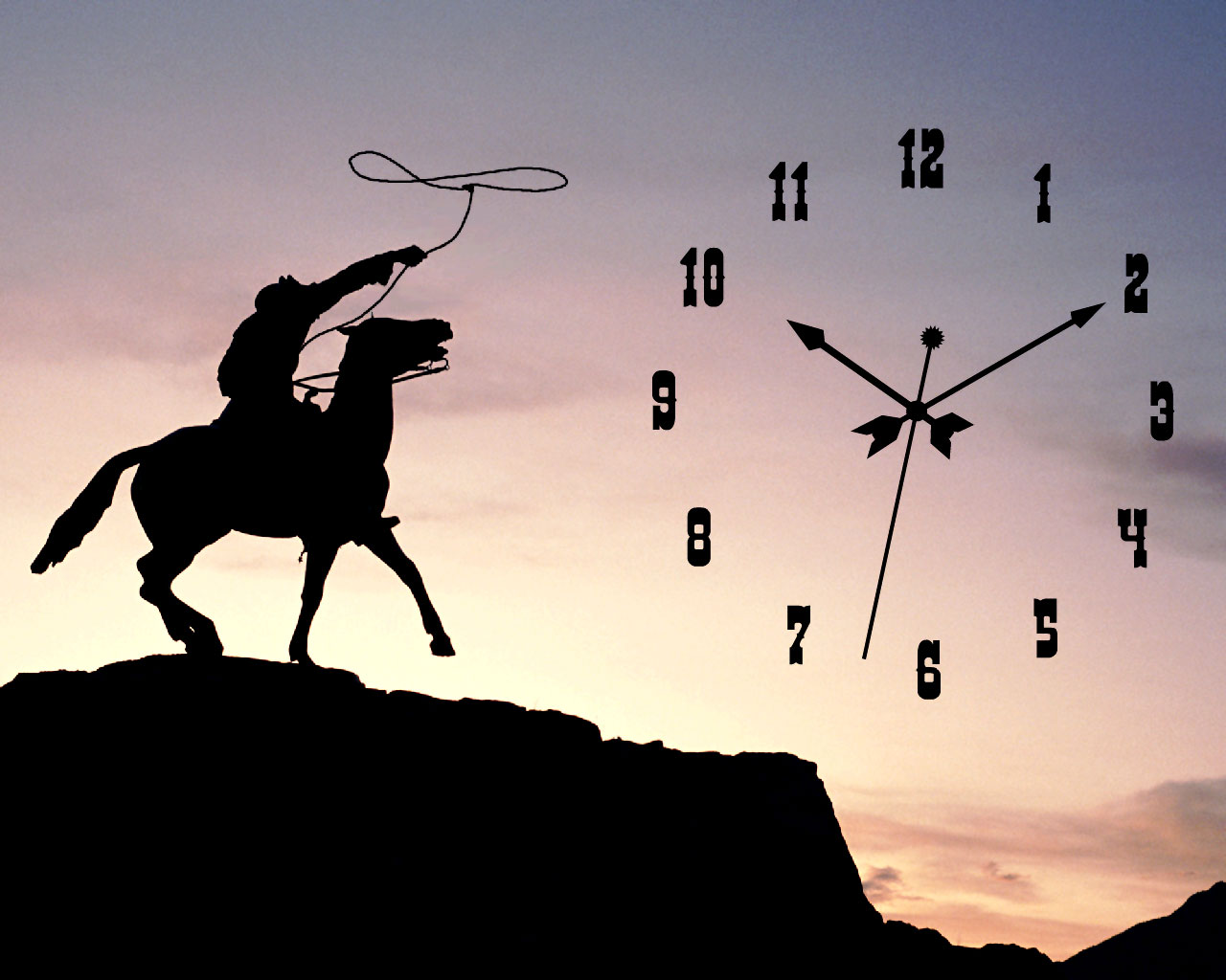 Cowboy PC Clock Screensaver: feel the spirit of unlimited freedom!