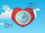 Joyful Cupids fly around a heart-clock with angel wings and shoot from their magical love-bows here and there. It's not only a desktop clock but also a magic love generator. Each Cupid's shot fills the world with love. It's a great gift for Valentine's day.