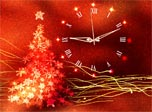 Gold Glow Christmas Clock screensaver - decorate your Christmas with the red and gold!