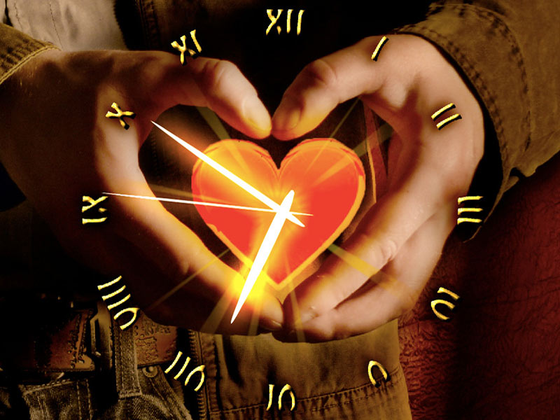 love heart with hands. Love Heart Clock screensaver reminds you about the best feeling any time you