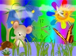 Sun is smiling to the rainbow, fluffy clouds in the sky, careless bird is their neighbour and colorful butterfly. Little mouse rings a bluebell, what the time is can you tell?