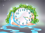 Nature Harmony Clock screensaver - See how wonderfully Water and Earth harmonize each other!