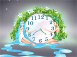 The two greatest energies meet on the scene of the new clock! Fluid watery structure of the world and blooming element of earth. Enjoy two smiling lovely girls symbolizing natural harmony and fling yourself whole-heartedly into the gorgeous picture!