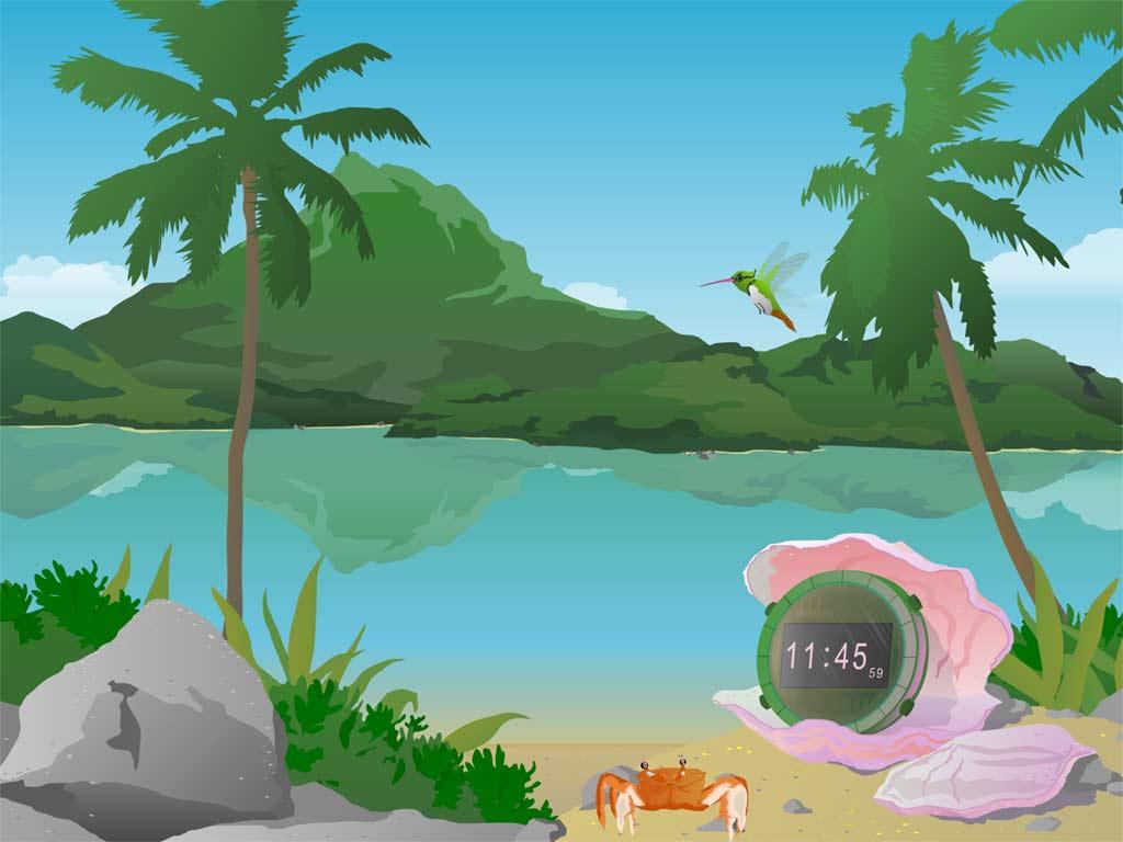Tropical Island Cartoon: Pearl Clock Screen Saver: Natural Clock From A Tropical