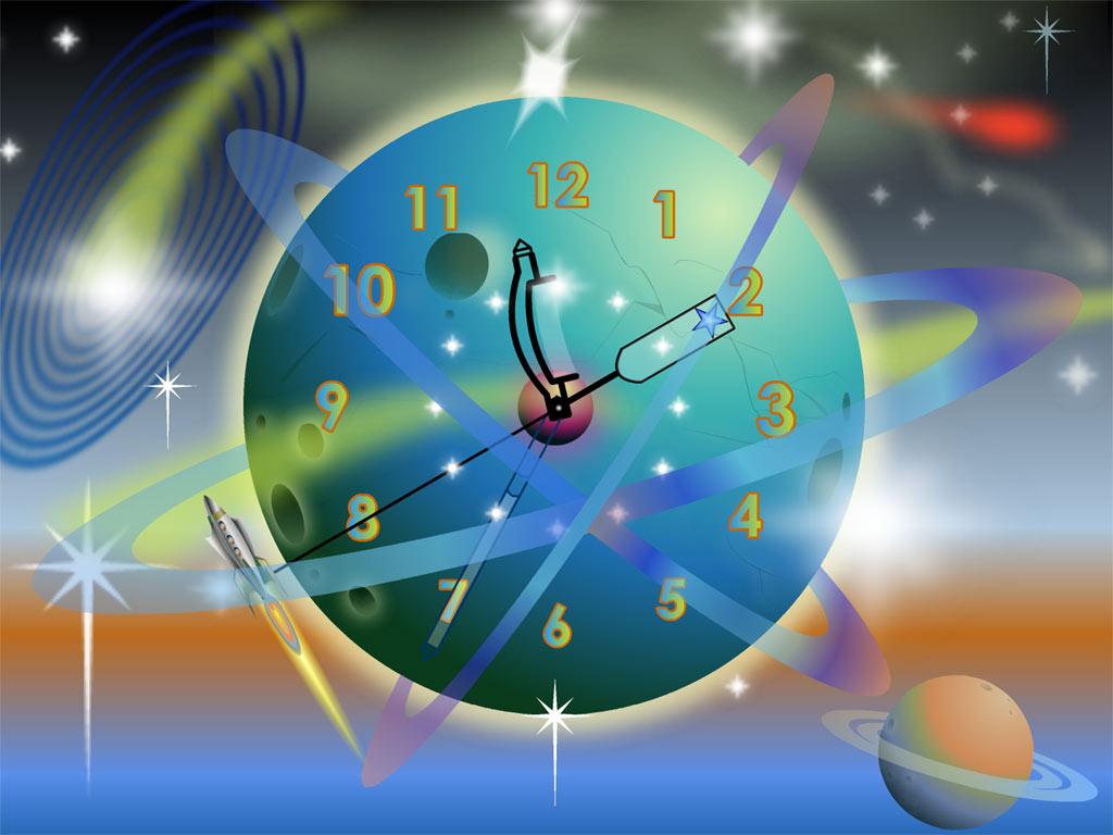 Rocket Clock screensaver: a space rocket in your computer clock!