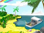 Decorate your desktop with original clock built in a small sea yacht anchored near a paradise tropical island. Let your spirits to get high into a rainbow sky!