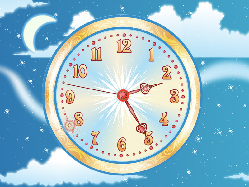 Flight in the Sky with the magical Ruby clock