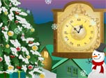 Snow Clock is a stylish decoration for the coming Christmas. Snow is falling from the sky. Happy Snowman is smiling. Christmas tree is radiating festive moods. Christmas spirit is right here.