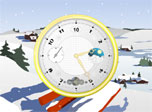 Placating small clock screensaver. You can see a peaceful and quiet place, devoid of bustle, somewhere on the outskirts of a skiing resort. Immerse into the atmosphere of imperturbable serenity, watching the small cute clock catching the snowflakes.