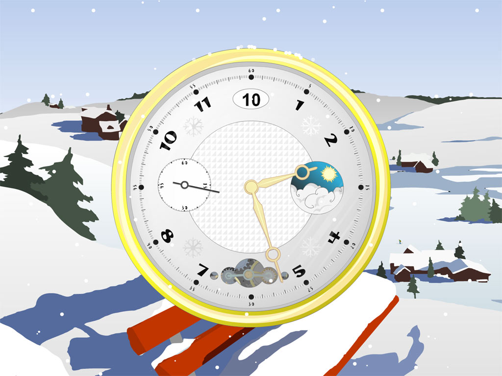 A cool, snow-covered background and a small cute clock, catching the snowflakes